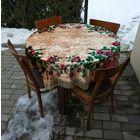 Обеденная группа. Стол, 4 стула, плюшевая скатерть. СССР.