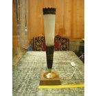 """Настольная лампа """"Факел"""", старинная. Мрамор, латунь, чеканка, замша. ТОРГ."""