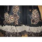 Юбка джинсовая, расшита стразами и кружевом! Невероятная красота (см. фото!)! р.L