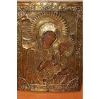 Старинная намоленная икона Тихвенской Божьей Матери по серебру, 19 век, размер 33*43,5 см.