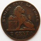 Бельгия 2 сантима 1846 года DES BELGES