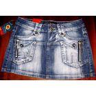 Юбка джинсовая 42 ХЛОПОК плотный стрейтч. МИНИ. Секси