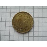 Бельгийское Конго 2 франка 1947г.