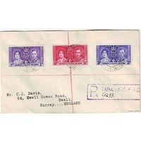 Британские колонии. Острова Гилберта и Эллис. Заказное письмо 1938 (не FDC)