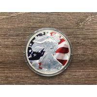 """США 1 доллар 2007 год """" Walking Liberty - Шагающая Свобода """" Ag серебро цветная UNC идеал"""