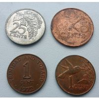 Набор монет - 4 штуки Тринидад и Тобаго (из коллекции, цена за все)