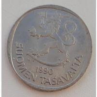 Финляндия km49a 1 марка 1990 год (M) (верх гурта - номинал)