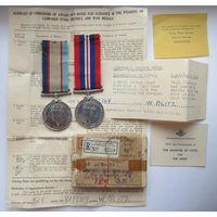 Пара медалей на австралийца с документами, Великобритания V377349 W.Blitz