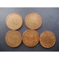 1 евроцент Австрия Литва Германия