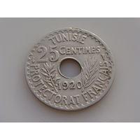 Тунис.   25 сантимов 1920 год  KM#244