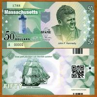 США - 50 Dollars - 6 штат Massachusetts - 2014 - Polymer - UNC