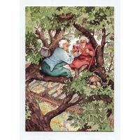 Серия Веселые старушки. С выпивкой на дерево. Художник Inge Look. Финляндия. Чистая.
