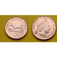 Гернси 2 пенс 1999г. Елизавета II