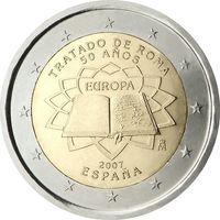 2 евро Испания 2007 50 лет подписания Римского договора UNC из ролла