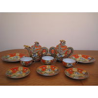 """Антикварный восточный фарфоровый чайный сервиз """"Дракон"""" (GKBCO). 11 предметов."""