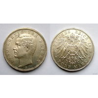 Германия. Бавария.5 марок 1913г. Штемпельглянц.