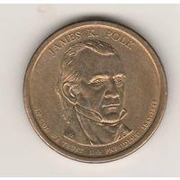 США, 1 dollar, 2009г. James K.Polk - 11-й президент США (1845-1849гг).