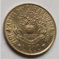 Италия 200 лир, 1994 180 лет карабинерам  2-10-20