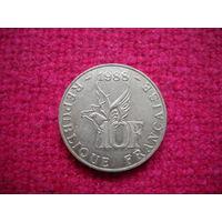 Франция 10 франков 1988 г. 100-летие со дня рождения Ролана Гарроса