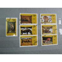 Марки - фауна, Оман, слон, бегемот и др