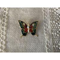 Брошь Бабочка цветная эмаль Германия винтаж