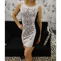 Платье черно-белое XS