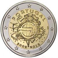 2 евро 2012 Португалия 10 лет наличному обращению евро UNC из ролла