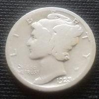 10 центов (дайм) США 1923 г., серебро 900