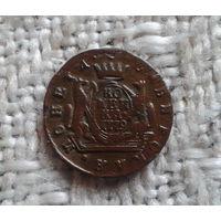 Сибирская монета копейка 1779 км Оригинал последний год чекана! В красивой желтой патине!