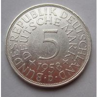 ФРГ. 5 марок 1958 D, Серебро