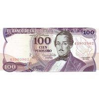 Колумбия 100 песо образца 1980 года UNC p418b