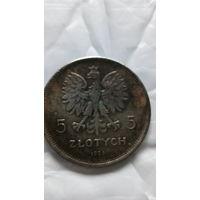 Польша 5 злотых 1928г. копия.  распродажа