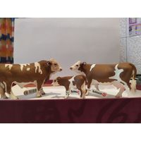 Фигурки животных, SCHLEICH(Германия) Семья коров Симментальской породы