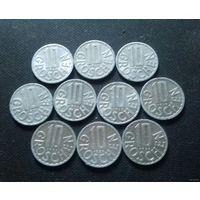 10 грошей, Австрия 1963, 1965, 1968, 1971, 1976, 1977, 1979, 1980, 1988, 1996 г.