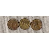 Набор из 3 монет - Конго / Бельгийское Конго /фауна/СЛОН/ 1 франк 1944,1946,1949 /цена за все монеты///Н/