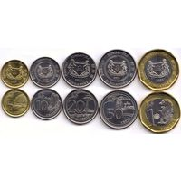 Сингапур 2013 - 2017 набор 5 монет UNC