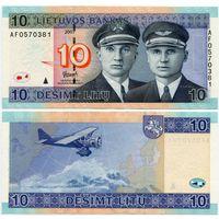 Литва. 10 лит (образца 2007 года, P68, UNC) [серия AF]