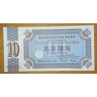 10 марок 1958 года - ФРГ (товарный ваучер) - UNC - редкая!