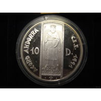 Андорра 10 долларов, 1991г, серебро