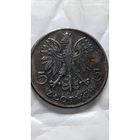 Польша 5 злотых 1927г. копия.  распродажа