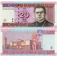 Литва. 20 лит (образца 2007 года, P69, XF) [серия AE]