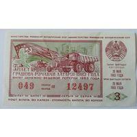 Лотерейный билет БССР тираж 3 (25.05.1983)