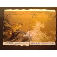 Япония 2000 Неделя филателии, живопись полная серия