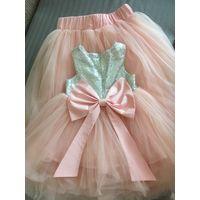 Платье (платьице)  и юбка мама и дочь дочка комплект