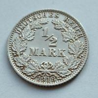 "Германия, 1/2 марки 1918 год,  м/д ""А"""
