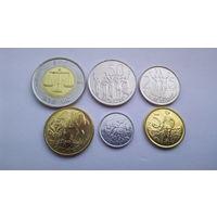 Эфиопия. набор 6 монет 1, 5, 10, 25, 50 центов, 1 быр 2004 - 2010 год