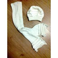 Белый вязаный комплект (шапочка и шарфик)