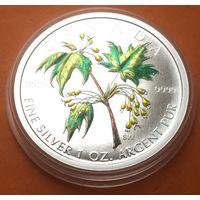 КАНАДА Proof 5 долларов 2003 г Кленовый лист Цветная СЕРЕБРО (0.999)