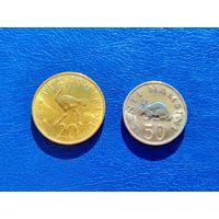 Танзания. 20 центов 1976, 50 центов 1988.