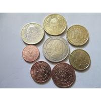 Полный ГОДОВОЙ набор евро монет Австрия 2002 г. (1, 2, 5, 10, 20, 50 евроцентов, 1, 2 евро)